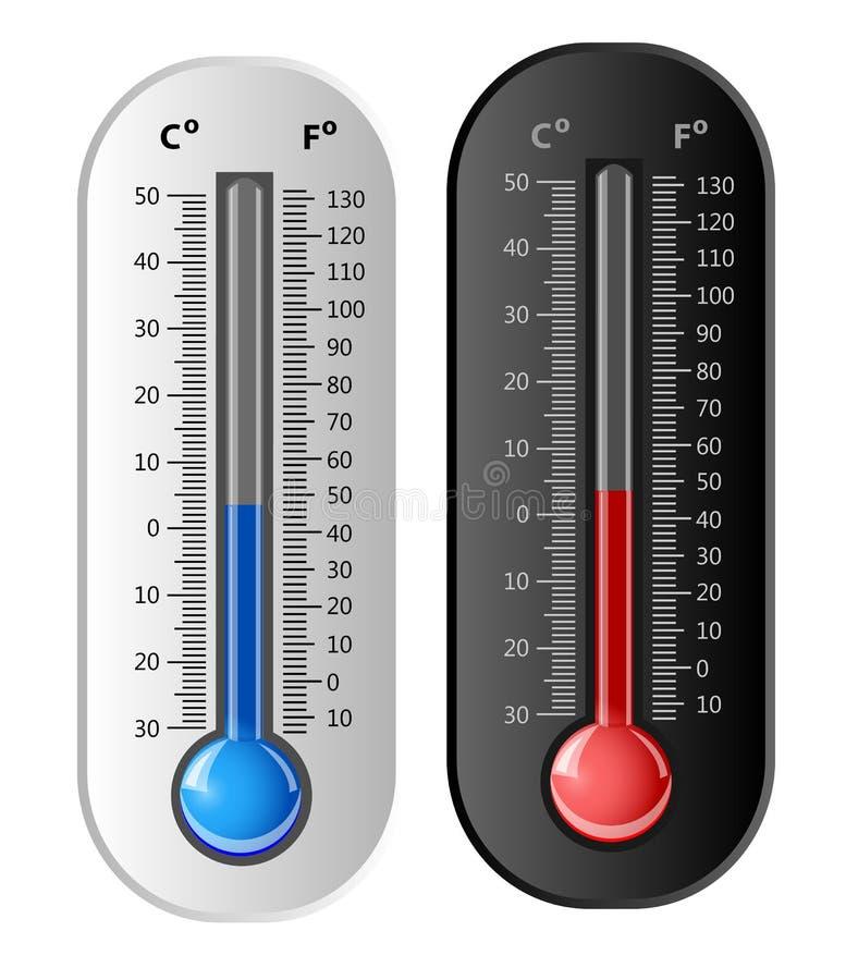 Thermomètre blanc et noir. Vecteur illustration de vecteur