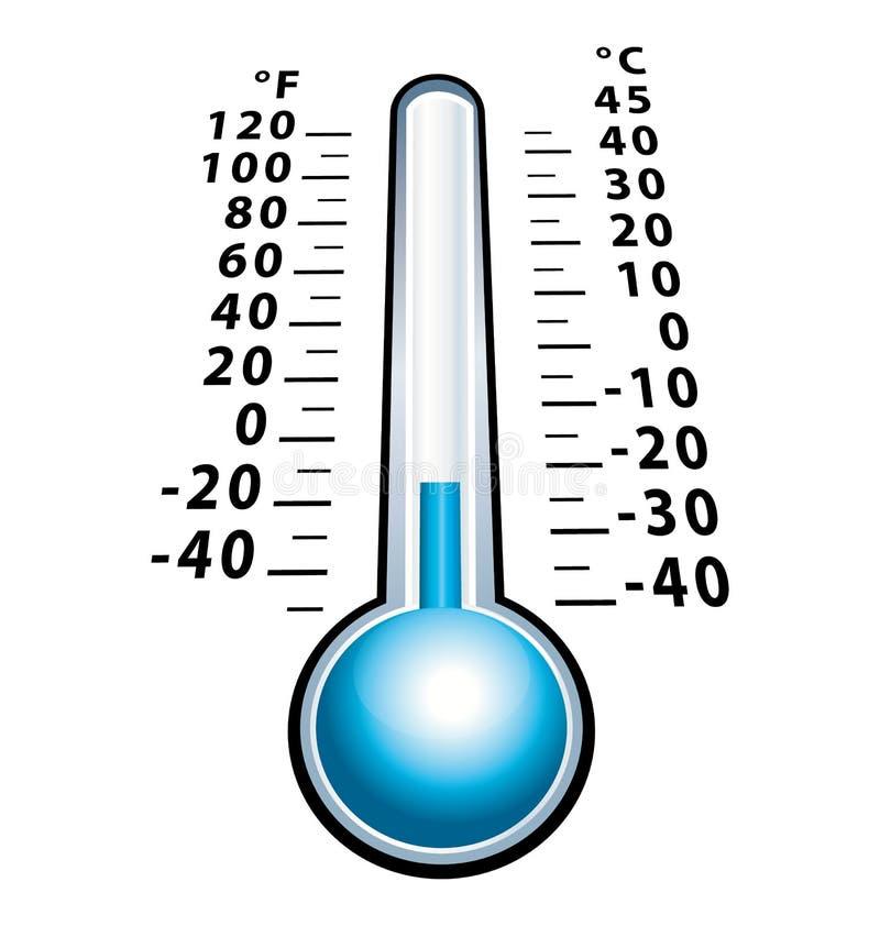 Thermomètre congelé avec la température négative Icône froide d'isolement illustration libre de droits