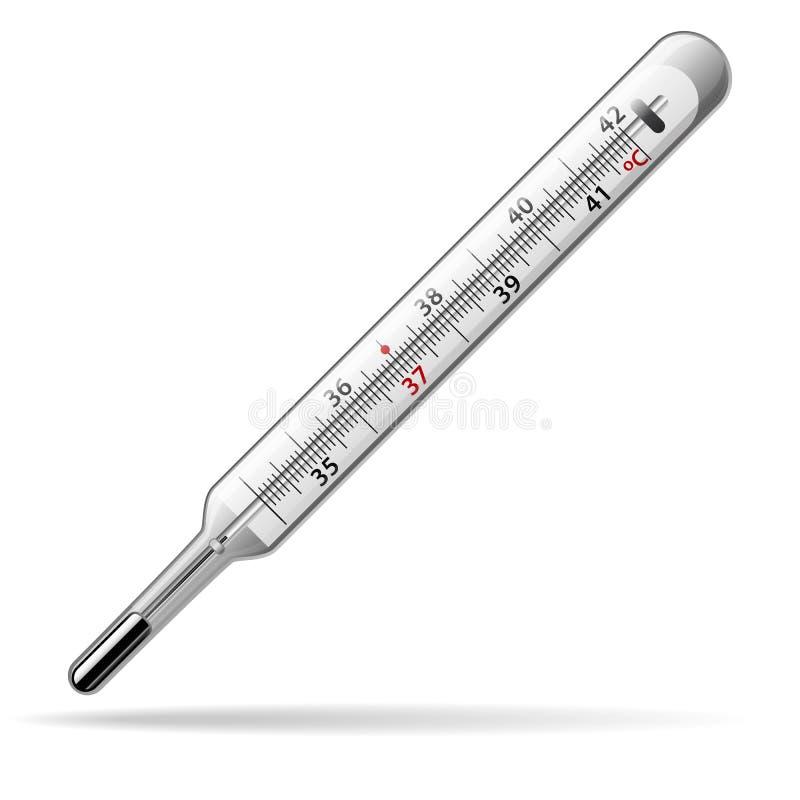 Thermomètre médical Un thermomètre à mercure en verre pour mesurer la température du corps humain Vecteur illustration de vecteur
