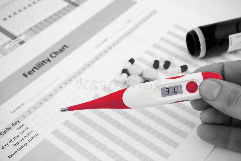 Thermomètre rouge sur la composition de fertilité image libre de droits