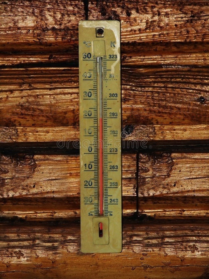 Thermometer auf Holz lizenzfreies stockbild