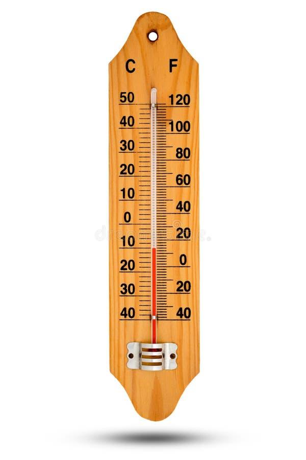 Thermometer auf Holzfuß mit Celsiusskala Ikone für Ihr DES lizenzfreie stockfotografie