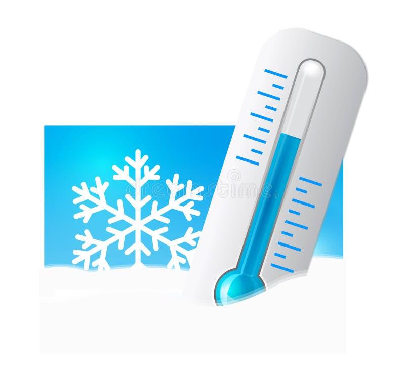 Thermometer in de sneeuw royalty-vrije illustratie