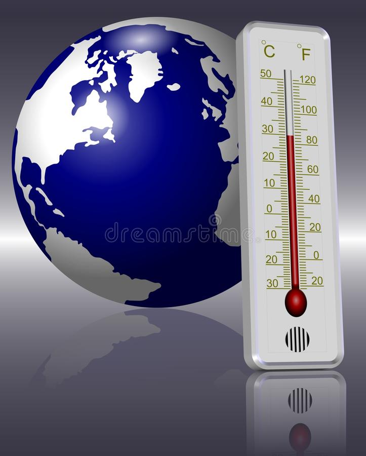 Thermometer And Earth Stock Photography