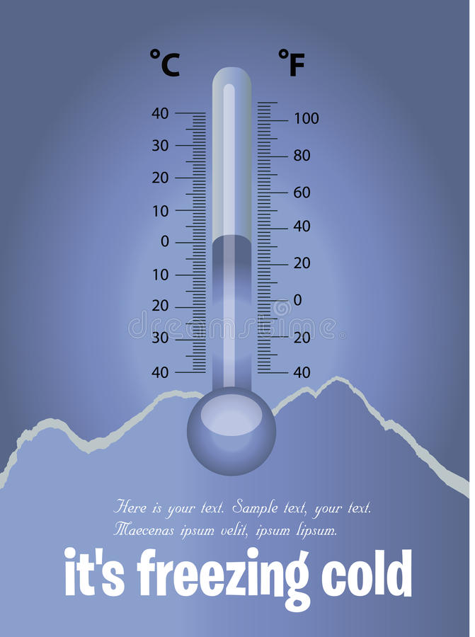 Thermometer Freezing. Blue card winter stock illustration