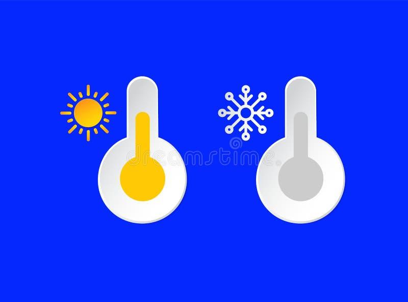 Thermometer, geplaatste temperatuuremblemen De informatiepictogrammen van het zonnige, Smowy-Dagweer Sneeuwvlok, Zon en Barometer stock illustratie