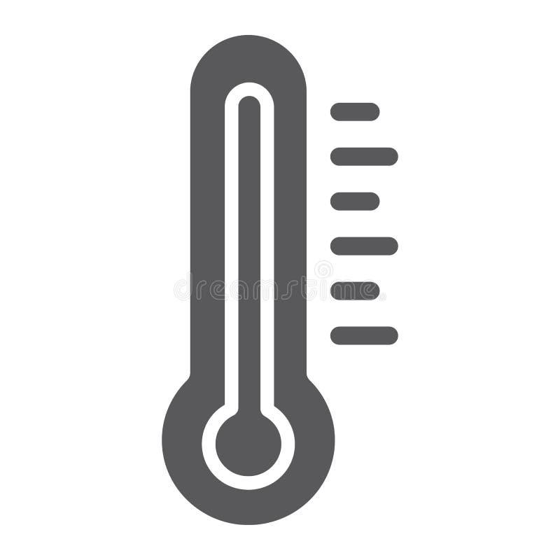 Thermometer Glyphikone, Medizin und Temperatur, Maßwerkzeugzeichen, Vektorgrafik, ein festes Muster auf einem weißen stock abbildung