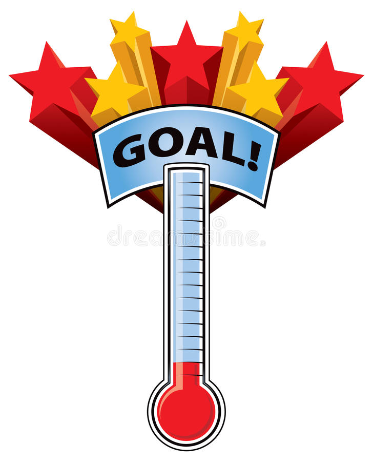 Thermometer Goal. A thermometer with a goal mark and stars