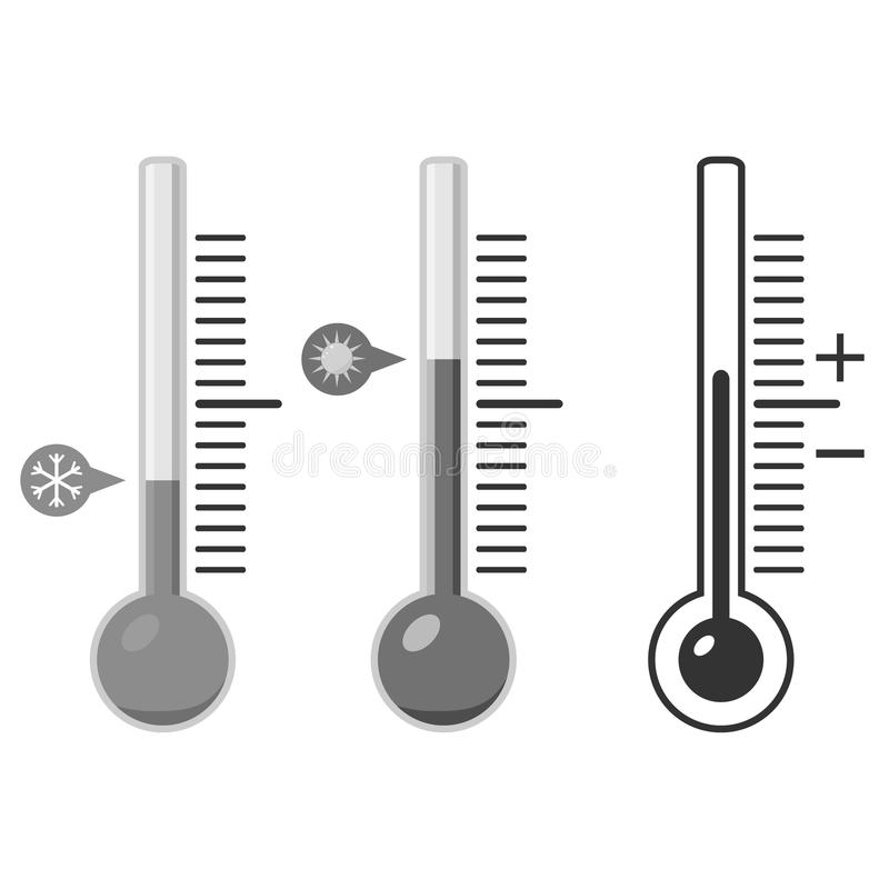 Thermometer in gray, for measuring temperature. Flat design, vector illustration, vector vector illustration