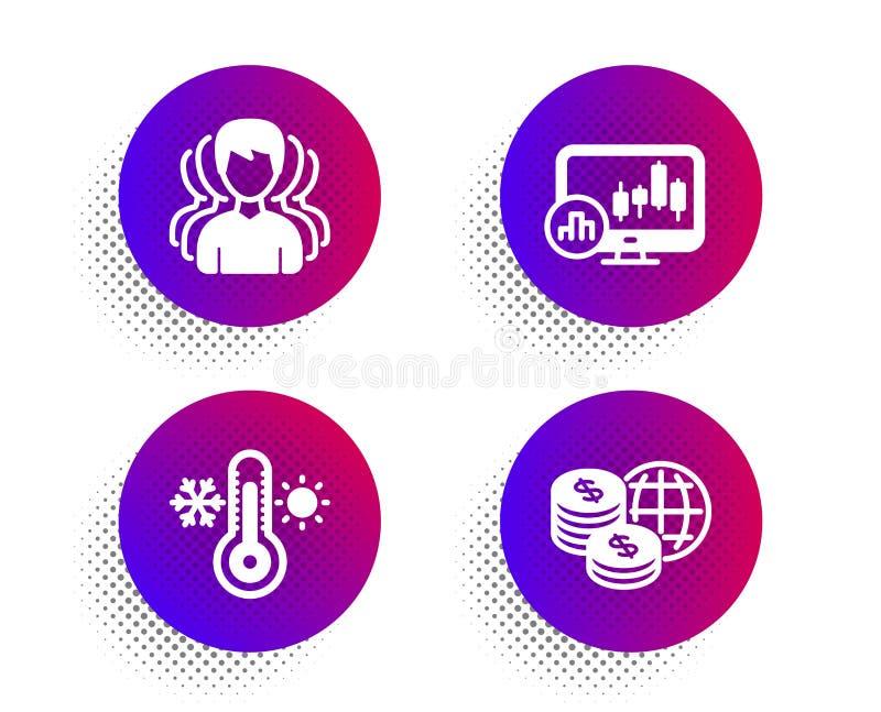 Thermometer, Group en Candlestick-pictogrammen Mondiaal geld Vector stock illustratie