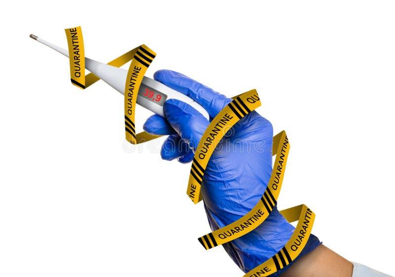 Thermometer in hand, coronavirus guarantine concept stock photography