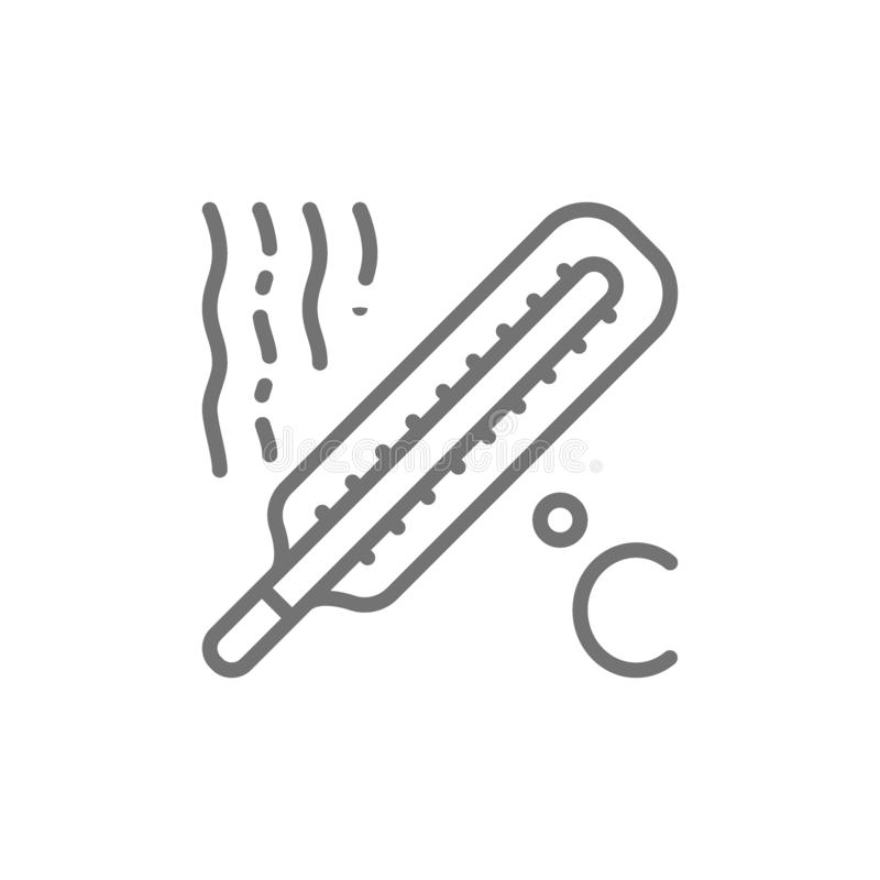 Free Thermometer, High Temperature, Fever Line Icon. Stock Photo - 147397420