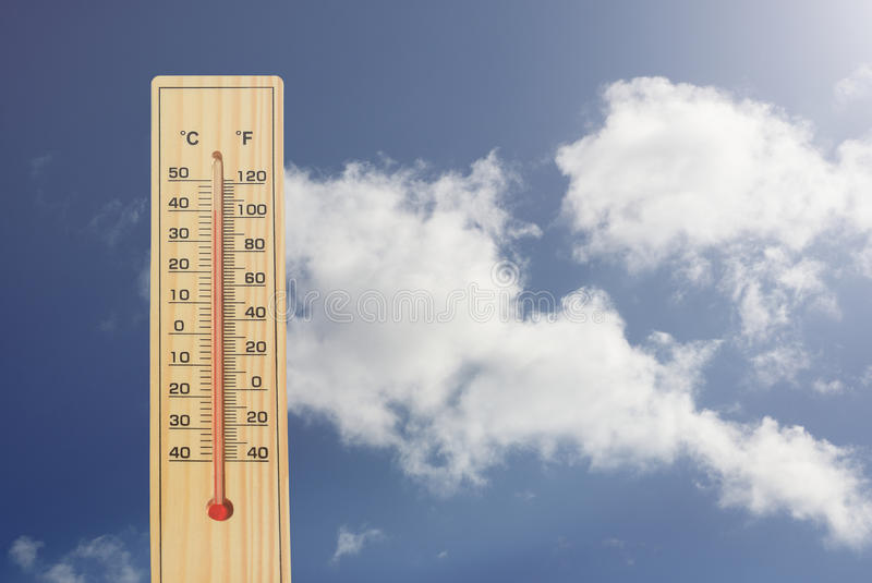 Thermometer high temperatures. Thermometer.High temperatures in degrees celsius and farenheit royalty free stock image