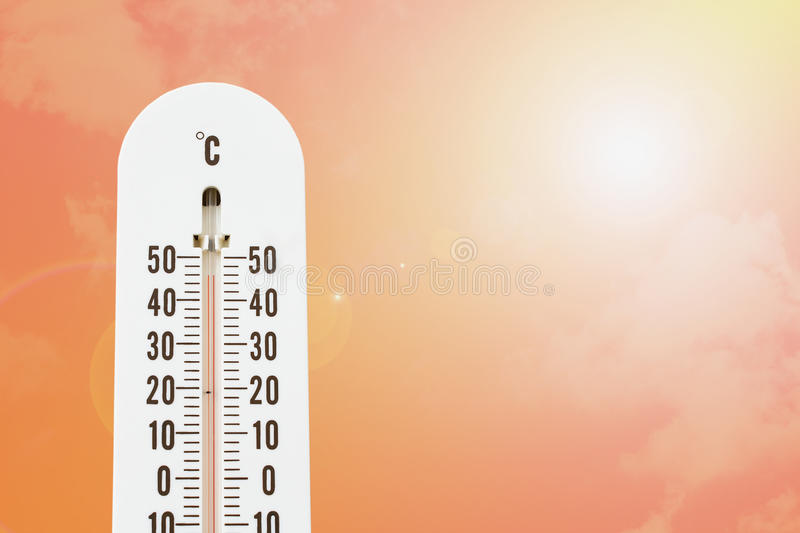 Thermometer with hot temperature royalty free stock photos