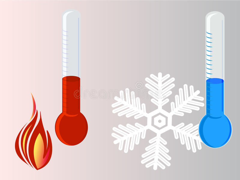 Download Thermometer hot vs cold stock illustration. Image of flame - 26064361