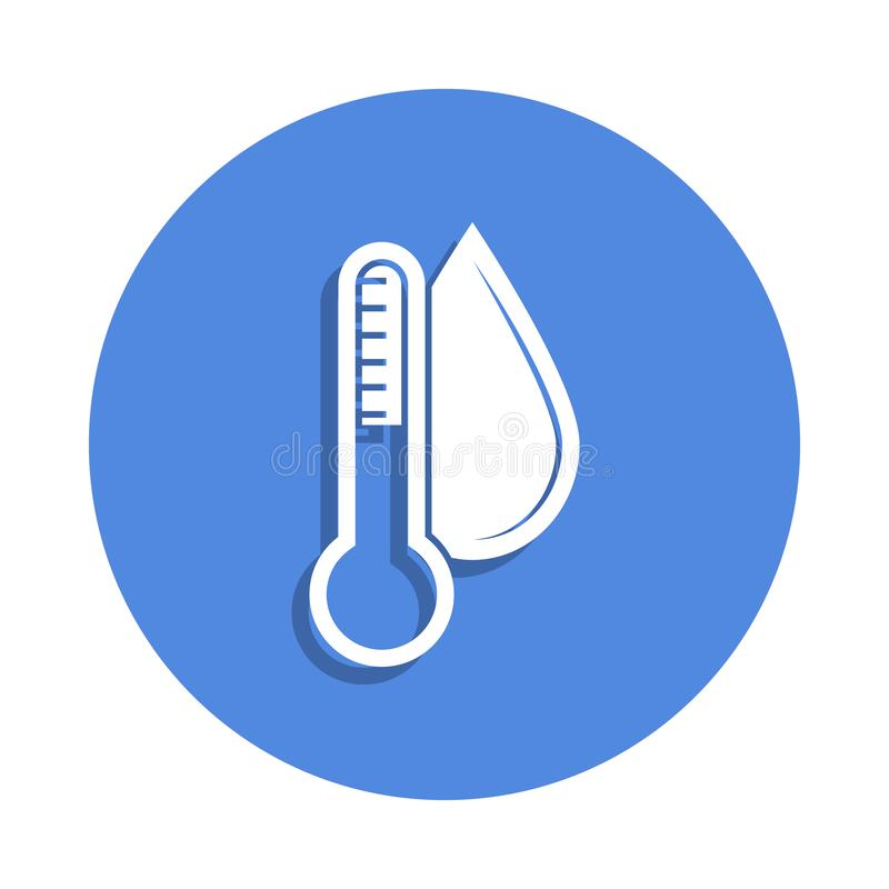 Thermometer and humidity icon in badge style. One of weather collection icon can be used for UI, UX. On white background vector illustration