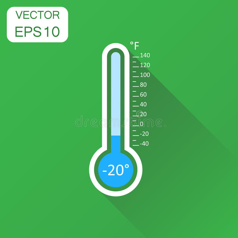 Thermometer icon. Business concept goal pictogram. Vector illustration on green background with long shadow. stock illustration
