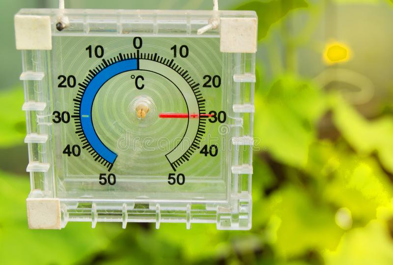Thermometer for measuring the temperature of the air in the greenhouse, sunlight and rays stock photo