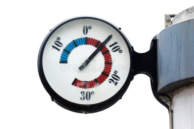 Thermometer op wit wordt geïsoleerd dat royalty-vrije stock foto's
