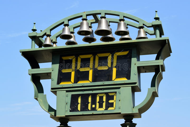 Thermometer openlucht stock foto