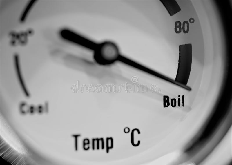 Thermometer showing boiling point water. Thermometer, measure, concept, temperature, celcius, hot, water, boiling minutes, drinking water save, 100 degrees royalty free stock photography