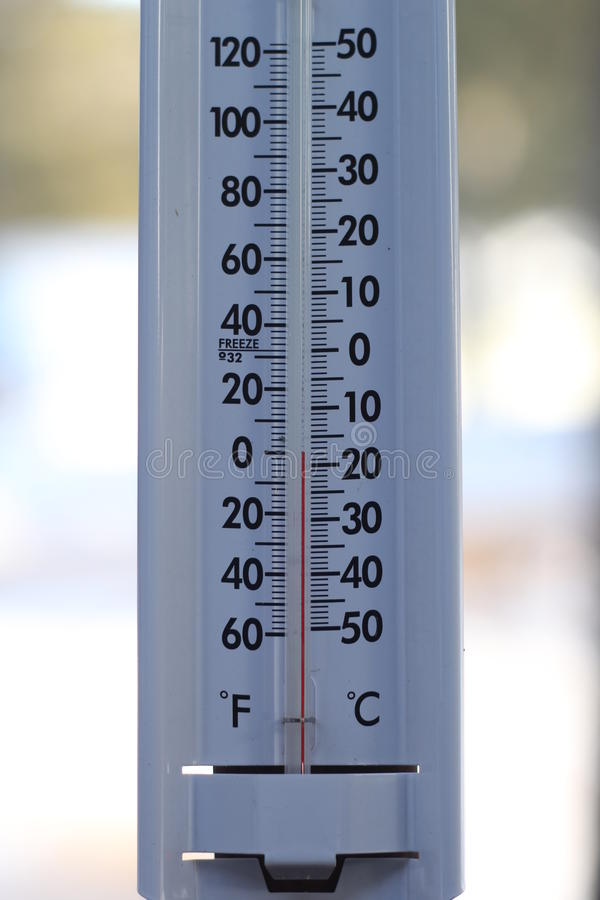 Thermometer. A thermometer showing 0 degrees Farenheit royalty free stock photo