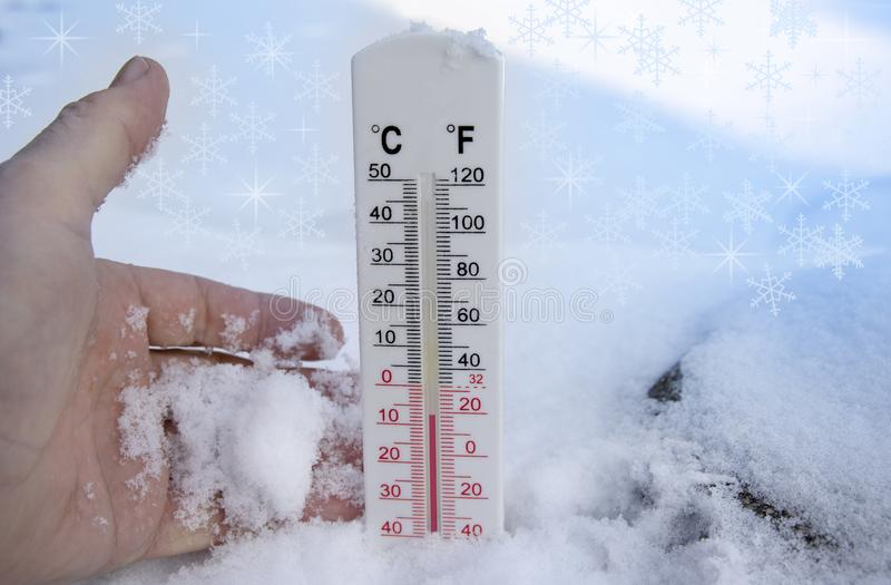 Thermometer on snow shows freezing temperature in celsius or farenheit.  royalty free stock image