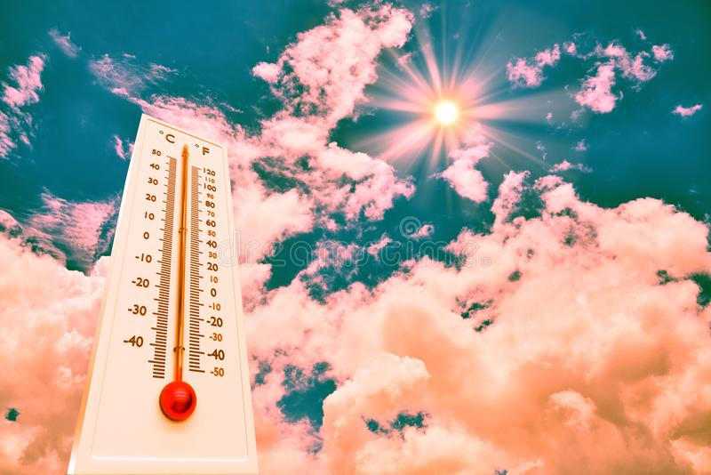 Thermometer Sun high Degres. Hot summer day. High Summer temperatures.  royalty free stock photos