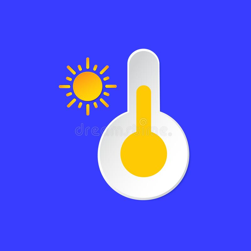 Thermometer, temperature emblem. Sunny Day Weather info icon. Yellow Sun and Barometer sign paper cut style on blue. Climate weather element. For Metcast WF vector illustration