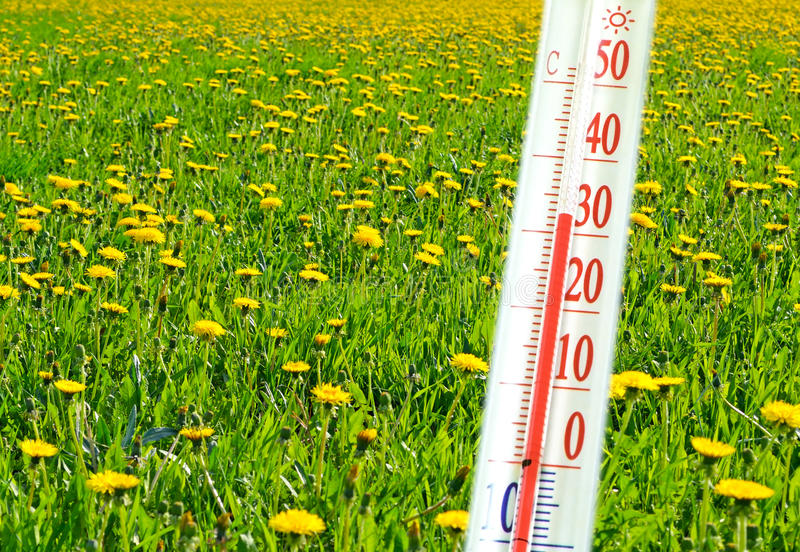Thermometer and temperature. Thermometer that features the temperature of the outdoor air stock image