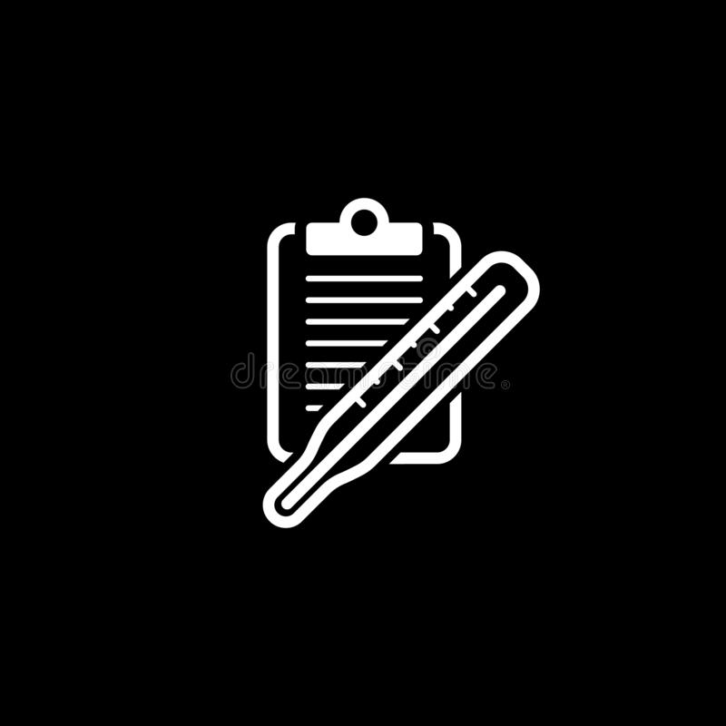 Thermometer und ?rztliche Bem?hungs-Ikone Flaches Design stockbilder