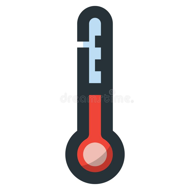Thermometer Vector Filled Line Icon 32x32 Pixel Perfect. Editable 2 Pixel Stroke Weight. Colorful Medical Health Icon for Website. Mobile App Presentation royalty free illustration