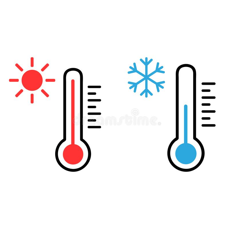 Thermometer vector icon set. Hot and cold weather illustration symbol collection. royalty free illustration