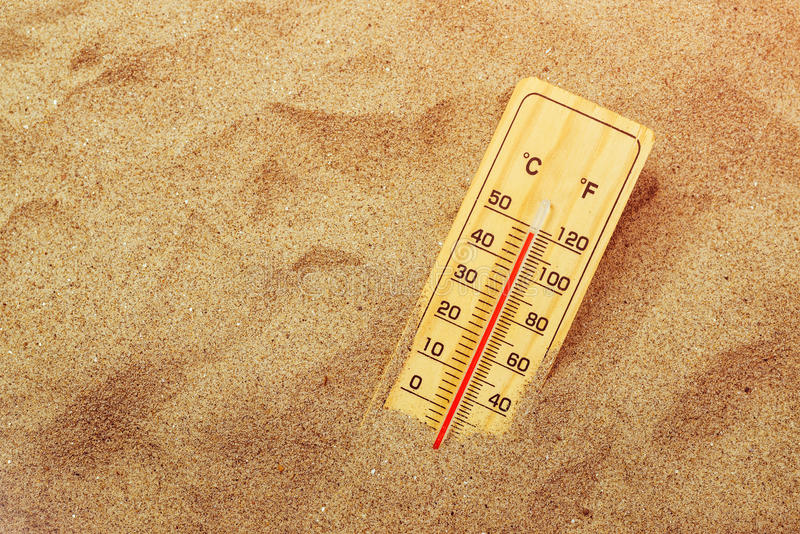 Thermometer on warm desert sand. Thermometer with celsius and farenheit scale on warm beach sand showing record extreme high temperatures royalty free stock photo