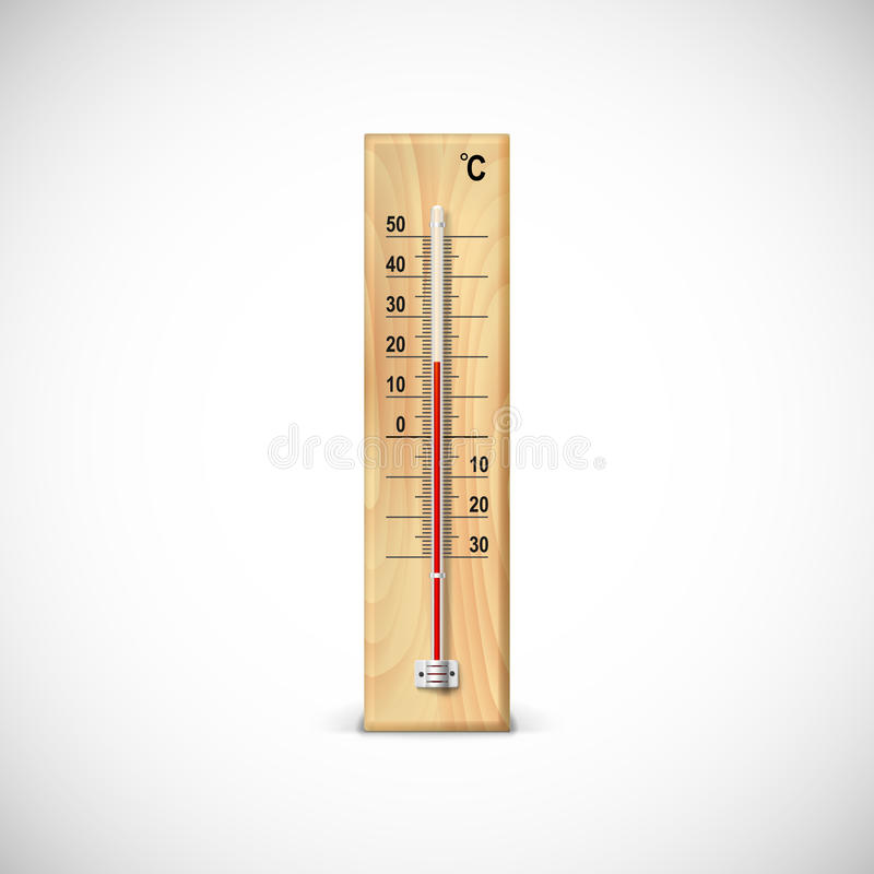 Thermometer on wooden base. Thermometer on wooden base with celsius scale. Icon for your design stock illustration