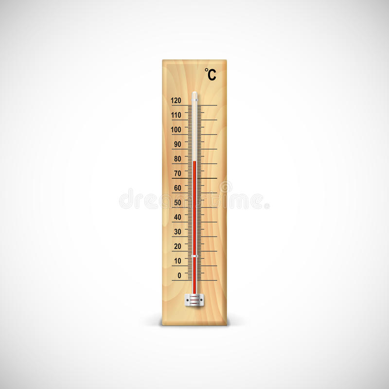 Thermometer on wooden base. Thermometer on wooden base with celsius scale. Icon for your design royalty free illustration