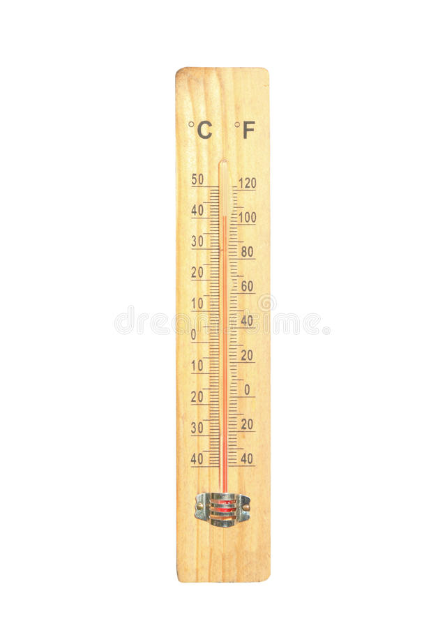Thermometer. On the wooden and high temperatures stock photo