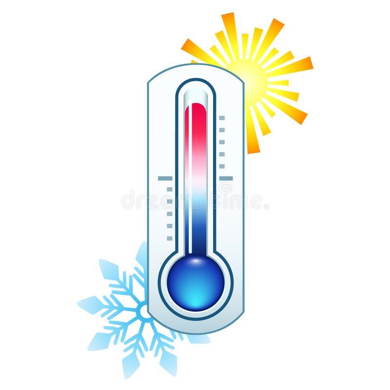 Thermometerikone, die heiße und kalte Temperatur auf Hintergrundsonne und -schneeflocke misst lizenzfreie abbildung