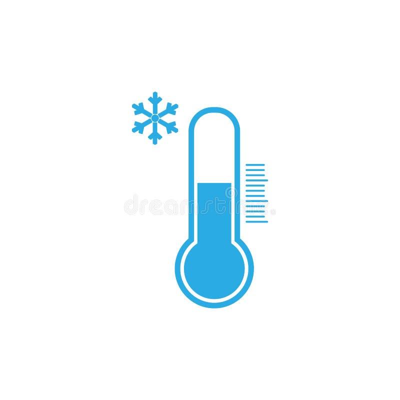 Thermometerpictogram, vectorillustratie De herfst Koud weer Vlak Ontwerp vector illustratie