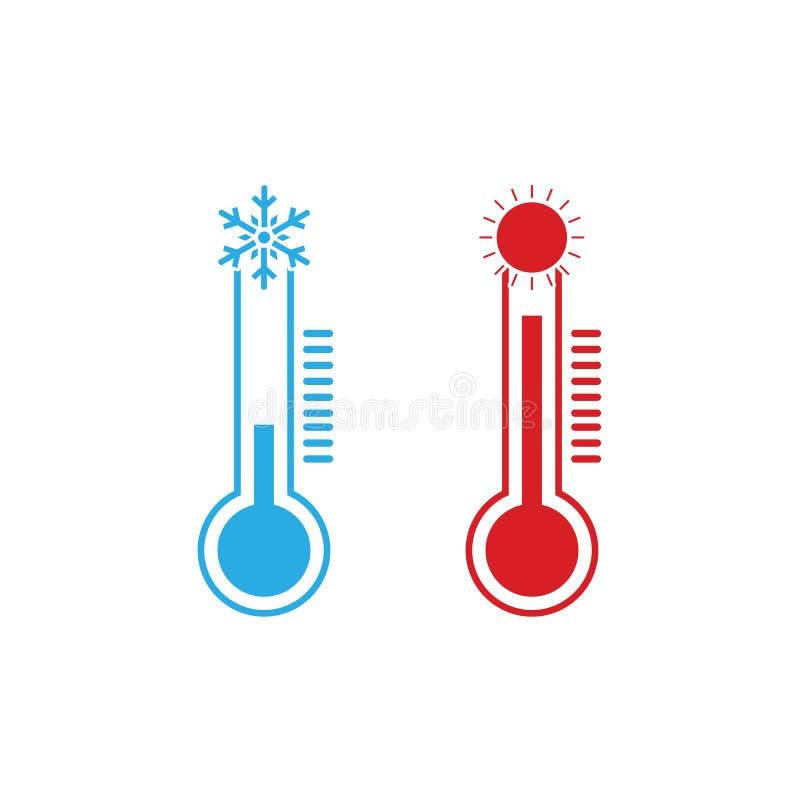 Thermometerpictogram, vectorillustratie Koud, Heet weer Vlak Ontwerp stock illustratie