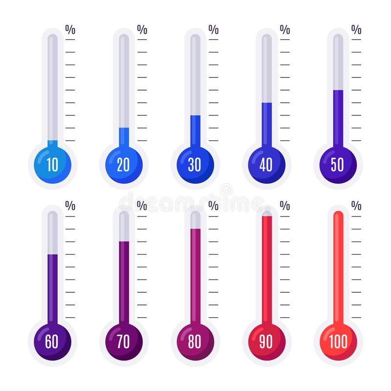 Thermometers with different temperatures. Goal measurement infographic thermometer stock illustration