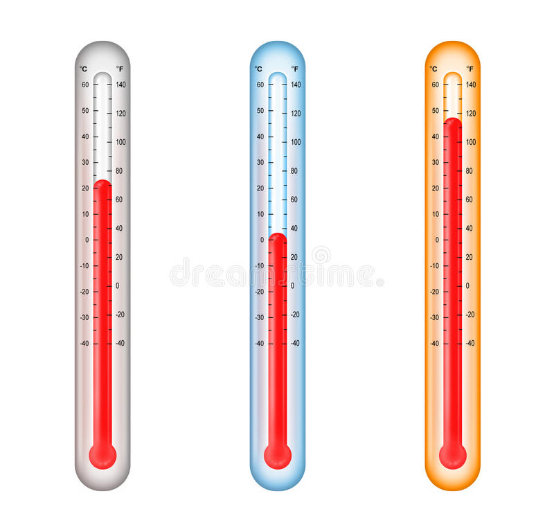 Thermometers with medium, cold, and hot temperatur royalty free illustration