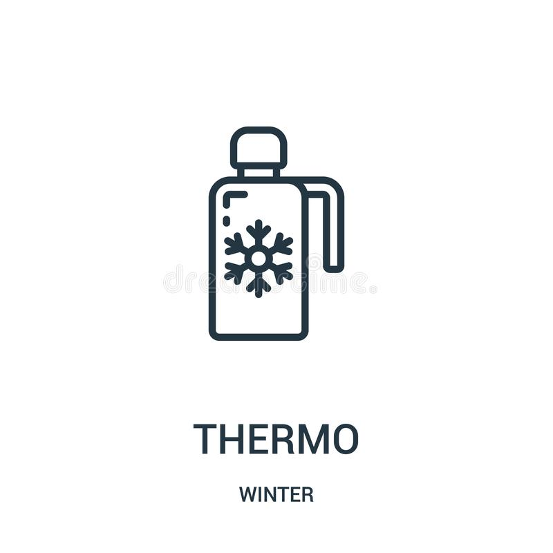 thermopictogramvector van de winterinzameling Dunne het pictogram vectorillustratie van het lijn thermooverzicht Lineair symbool  stock illustratie