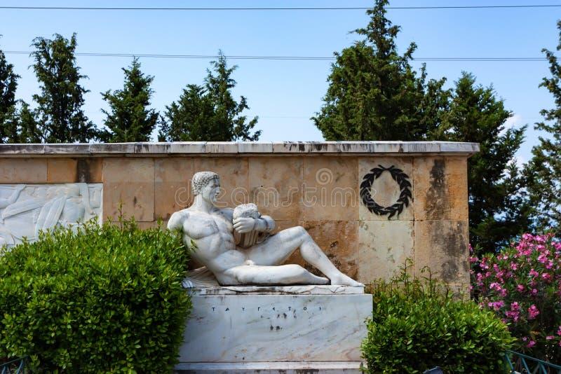 THERMOPYLAE, GREECE - JUNE, 2011: Anthropomorphic statue of Taygetus mountains. THERMOPYLAE, GREECE - JUNE, 2011: Beautiful anthropomorphic statue of Taygetus royalty free stock photography