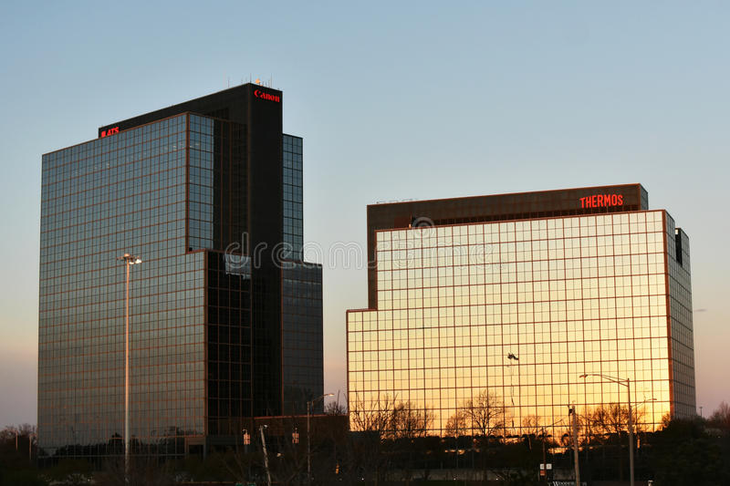Thermos and Canon Building, Schaumburg, Illinois. The Thermos and Canon Camera Building in Schaumburg, Illinois with the morning sun shining on it royalty free stock photo