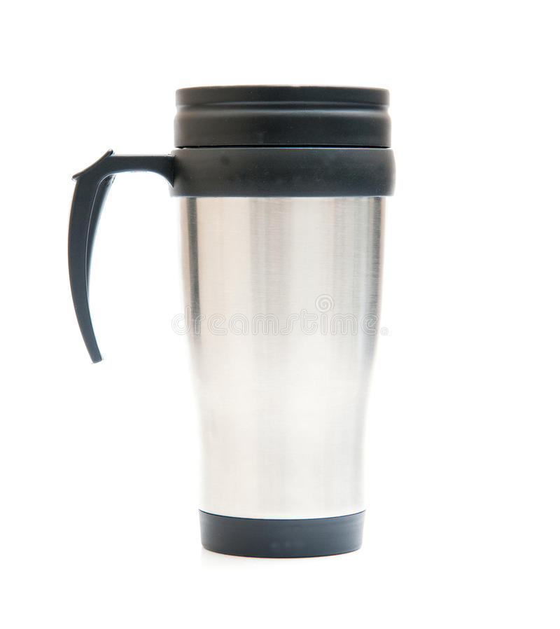 Thermos. Cup isolated on white stock images