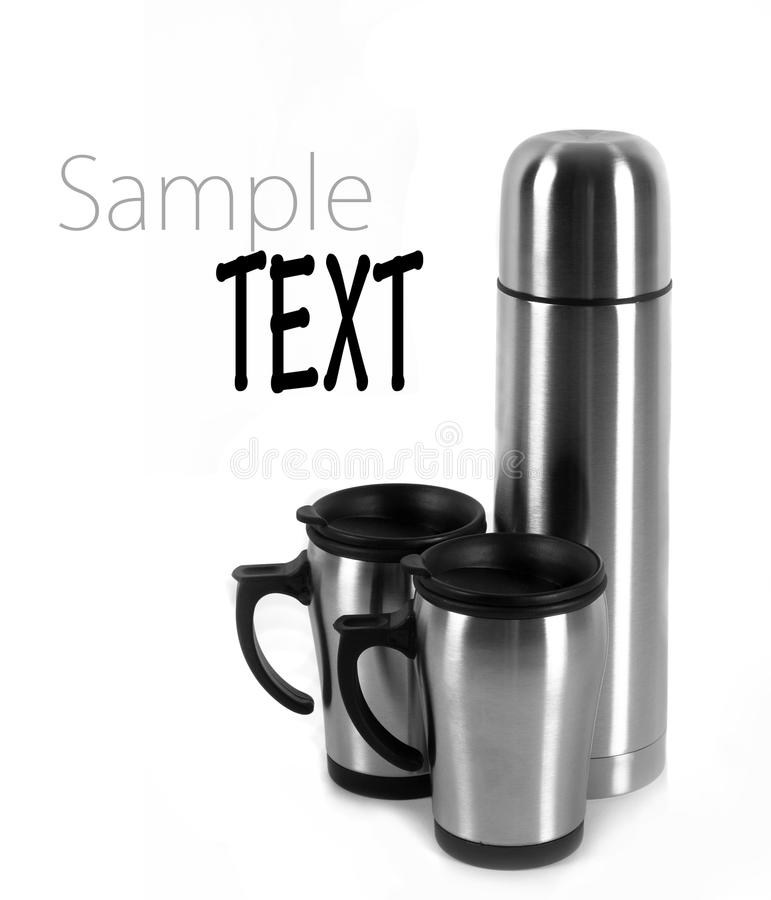 Thermos and cups. Isolated on white background stock images