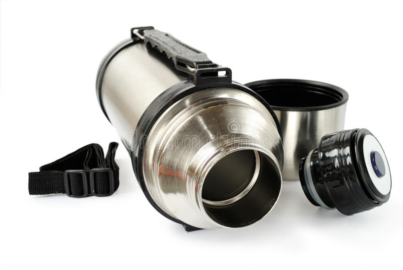 Thermos de aço fotografia de stock