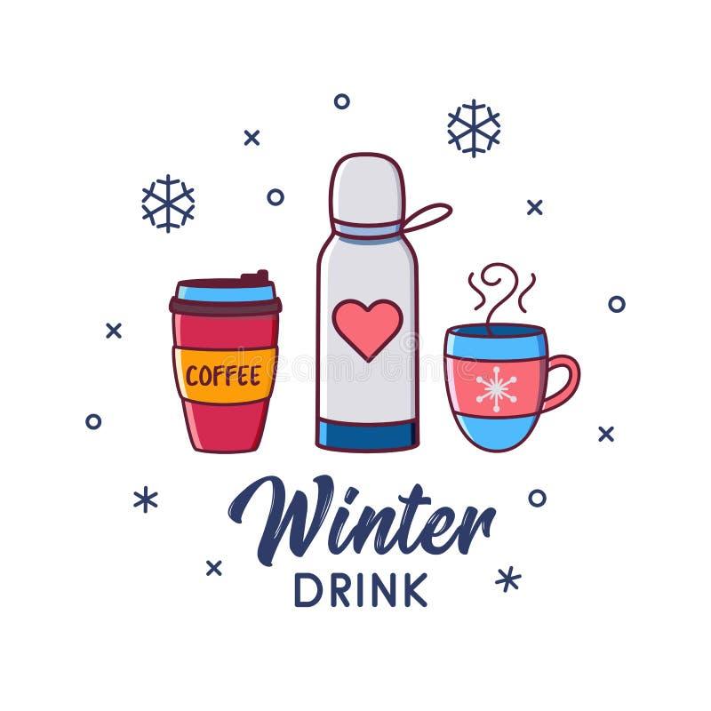 Thermos de cacao de café de chocolat chaud d'ensemble de boissons d'hiver illustration stock