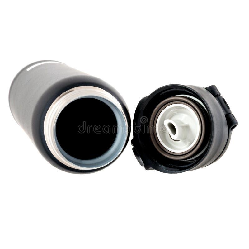 Thermos en plastique fermé de noir avec le dessus dévissé photos stock